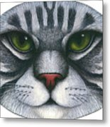 Cat Oval Face Metal Print by Carol Wilson
