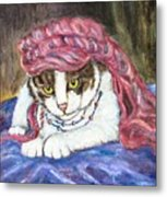 Tabby Cat With Yellow Eyes Metal Print