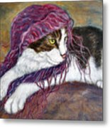 Cat Painting  Charlie The Pirate Metal Print