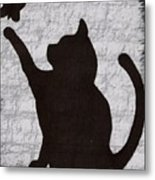 Cat  Shadow  And Butterfly  Metal Print