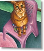 Cat Sitting On A Painted Chair Metal Print