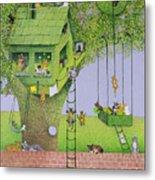 Cat Tree House Metal Print