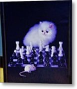 Cat With Chess Board Anbd Mouse Metal Print