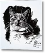 Cat With Ink Metal Print