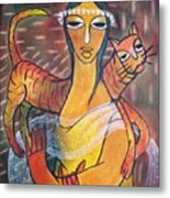 Cat With Woman Metal Print