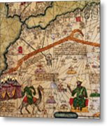 Catalan Map Of Europe And North Africa Charles V Of France In 1381  Metal Print