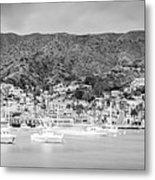 Catalina Island Avalon Bay Black And White Panorama Photo Metal Print