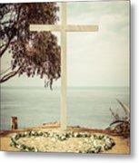 Catalina Island Cross Picture Retro Tone Metal Print