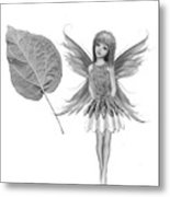 Catalpa Tree Fairy With Leaf B And W Metal Print