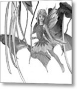 Catalpa Tree Fairy With Seed Pods B And W Metal Print