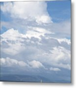 Catamaran Beach Clouds Metal Print