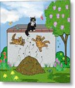 Tabby Cats Falling Metal Print