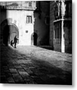 Catching Up On The News In Tarragona Spain Bw Metal Print