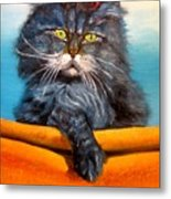 Cat.go To Swim.original Oil Painting Metal Print
