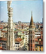 Cathedral And Campanile Milan Italy Metal Print