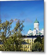 Cathedral Landmark And Central Helsinki View In Finland Metal Print