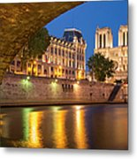 Cathedral Notre Dame And River Seine - Paris Metal Print