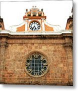 Cathedral Of Cartagena Clock Metal Print