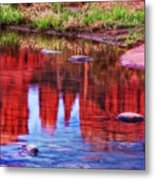 Cathedral Rock Reflection Painterly Metal Print