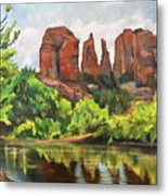 Cathedral Rocks In Crescent Moon Park Metal Print