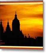 Cathedral Silhouette Sunset Fantasy L A With Alt. Decorative Ornate Printed Frame. Metal Print