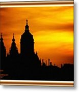 Cathedral Silhouette Sunset Fantasy L A With Decorative Ornate Printed Frame. Metal Print