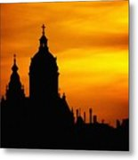 Cathedral Silhouette Sunset Fantasy L B Metal Print
