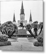 Catholic Basilica Jackson Sq Andrew Jackson New Orleans  Metal Print
