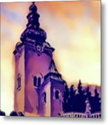 Catholic Church Building, Architectural Dominant Of The City, Graphic From Painting. Metal Print