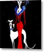 Catrina With Greyhound Metal Print