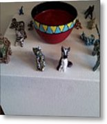 Basts Attendants And  Bowl Of Blood Colored Beer Metal Print