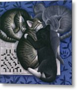 Cats And Crossword  Metal Print by Carol Wilson