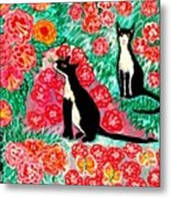 Cats And Roses Metal Print