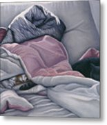 Cats Hide In Blankets Metal Print