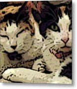 Cats In Bed Metal Print