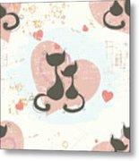 Cats In Love, Romantic Decorative Seamless Pattern Metal Print