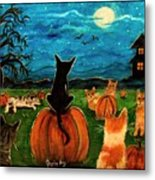 Cats In Pumpkin Patch Metal Print