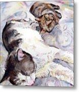Cats In Watercolor Metal Print