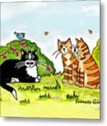 Cats Talking In A Sunny Garden Metal Print