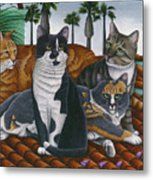 Cats Up On The Roof Metal Print