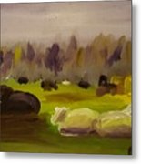 Cattle In Field  Metal Print