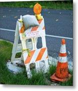 Caution, Road Work Metal Print