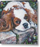 Cavalier King Charles Spaniel In The Pansies  Metal Print by Lee Ann Shepard