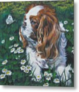 Cavalier King Charles Spaniel With Butterfly Metal Print by Lee Ann Shepard