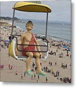 Caveman Above Beach Santa Cruz Boardwalk Metal Print