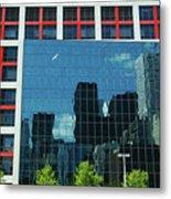 Cbc Building Tv Screen Of Downtown Highrises Metal Print