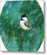 Cedar Chickadees - Bird 2 Metal Print