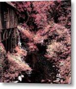 Cedar Creek Grist Mill Soft Burgundy Metal Print