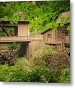 Cedar Creek Mill And Covered Bridge Metal Print