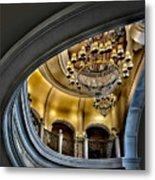 Ceiling And Chandelier In Bellagio Metal Print